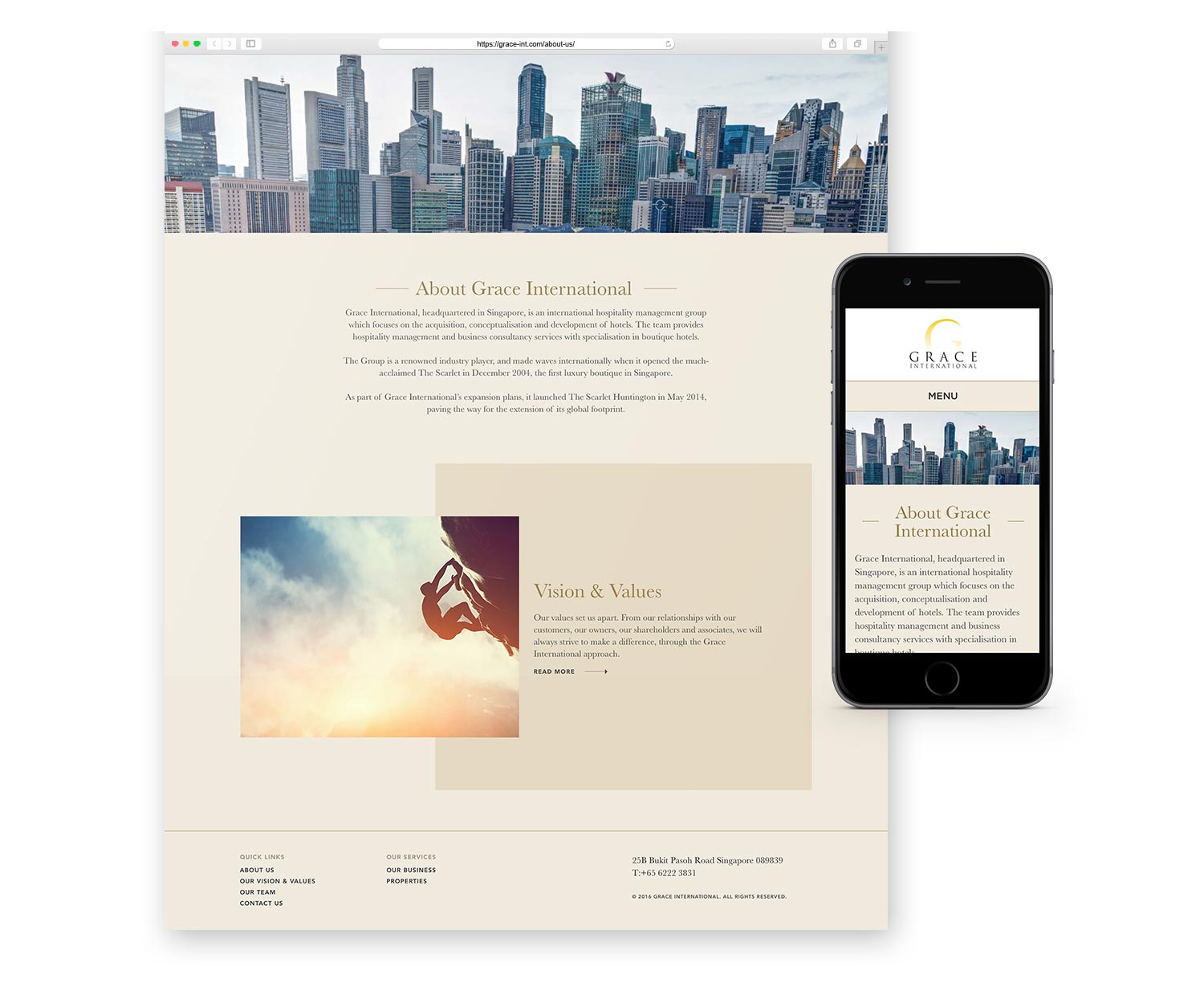 Web Design and Development for Grace International Responsive Layout